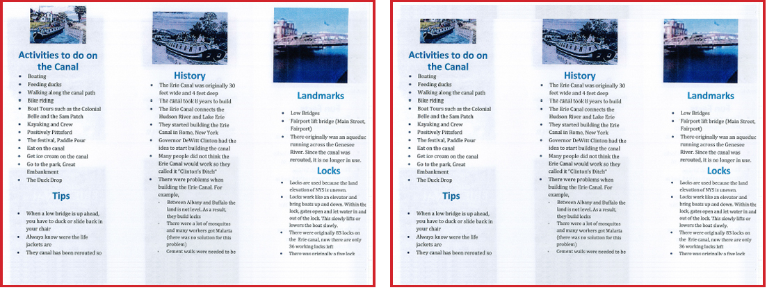 sample pages from brochure