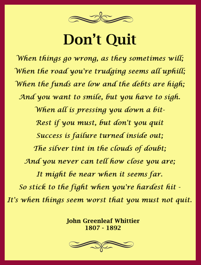 Exhilarating image in don't quit poem printable
