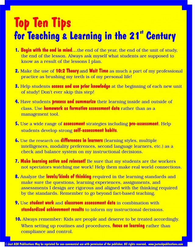 Top 10 Tips for Teaching and Learning