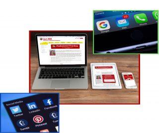 Social Media, iPad, iPhone, Laptop