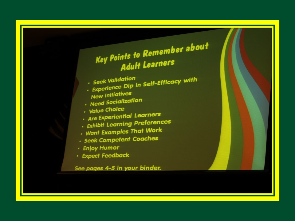 Slide for Key Points to Remember about Adult Learners